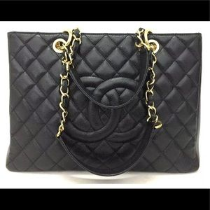 CHANEL Quilted Matelasse Caviar Skin GST Tote Bag